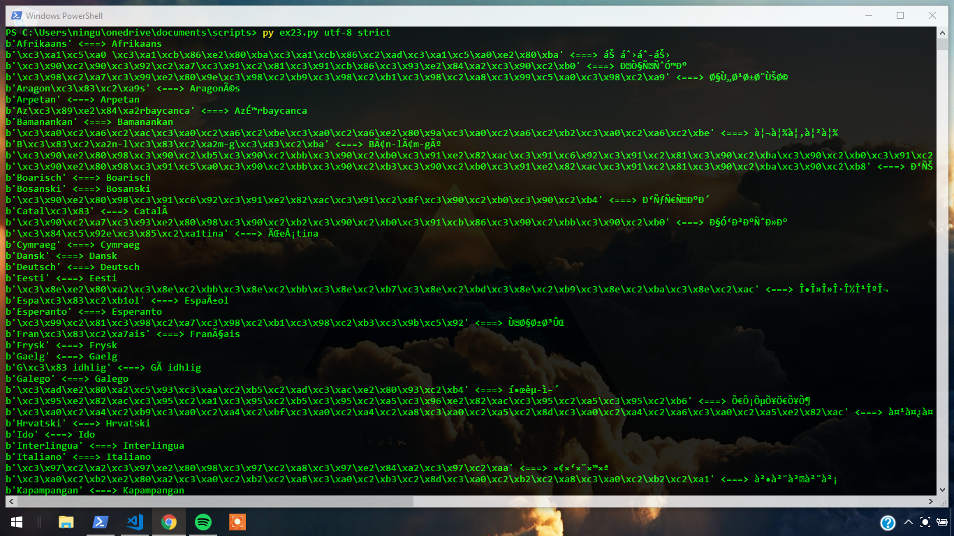 Excercise 23: How do I configure my terminal? W 10 - Python