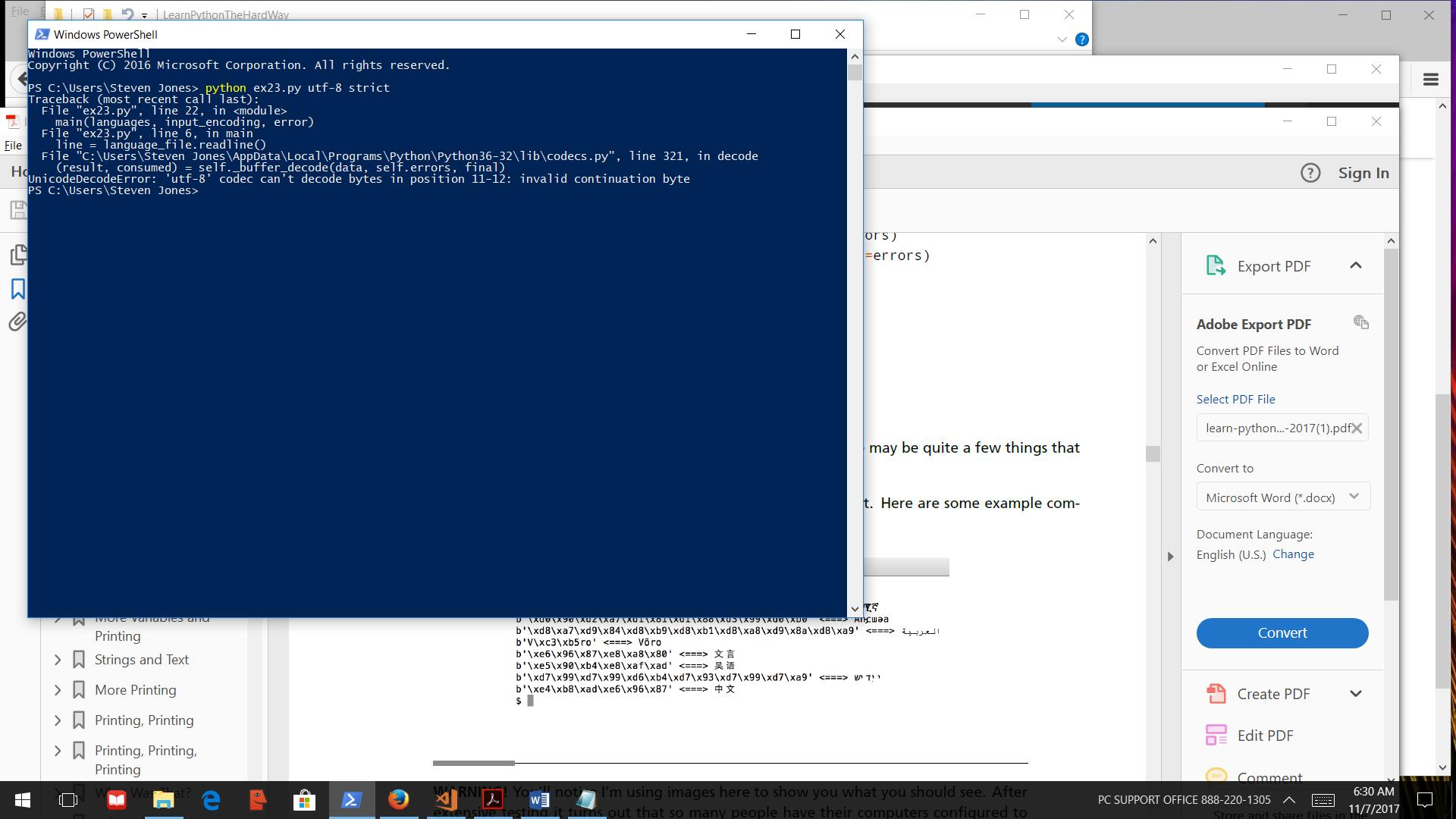 Ex23 Program won't run - Tried Power Shell & Cmder - Python